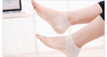 Fisioterapia Tacones Heel Pain and Crack Relief Protetor de Calcanhar Silicone Gel Plantar Fasciitis Heel Cushion Support Socks(China (Mainland))