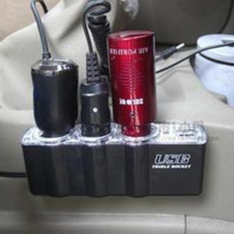 Car styling 3 Way Car Cigarette Lighter Socket Splitter Charger Power Adapter DC+USB Port Plug 12V-24V Free Shipping(China (Mainland))