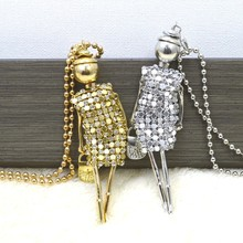 Women Rhinestone Necklace Lovely Dress Doll Sweater Chain Long Necklace Girls Pendant Fluffy Jewelry accessory XL475