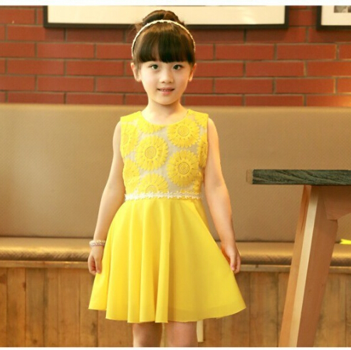 Summer New Princess Tutus Chiffon Dress Girl Sunflower Children Lace Dresses Vestidos Party clothes(China (Mainland))