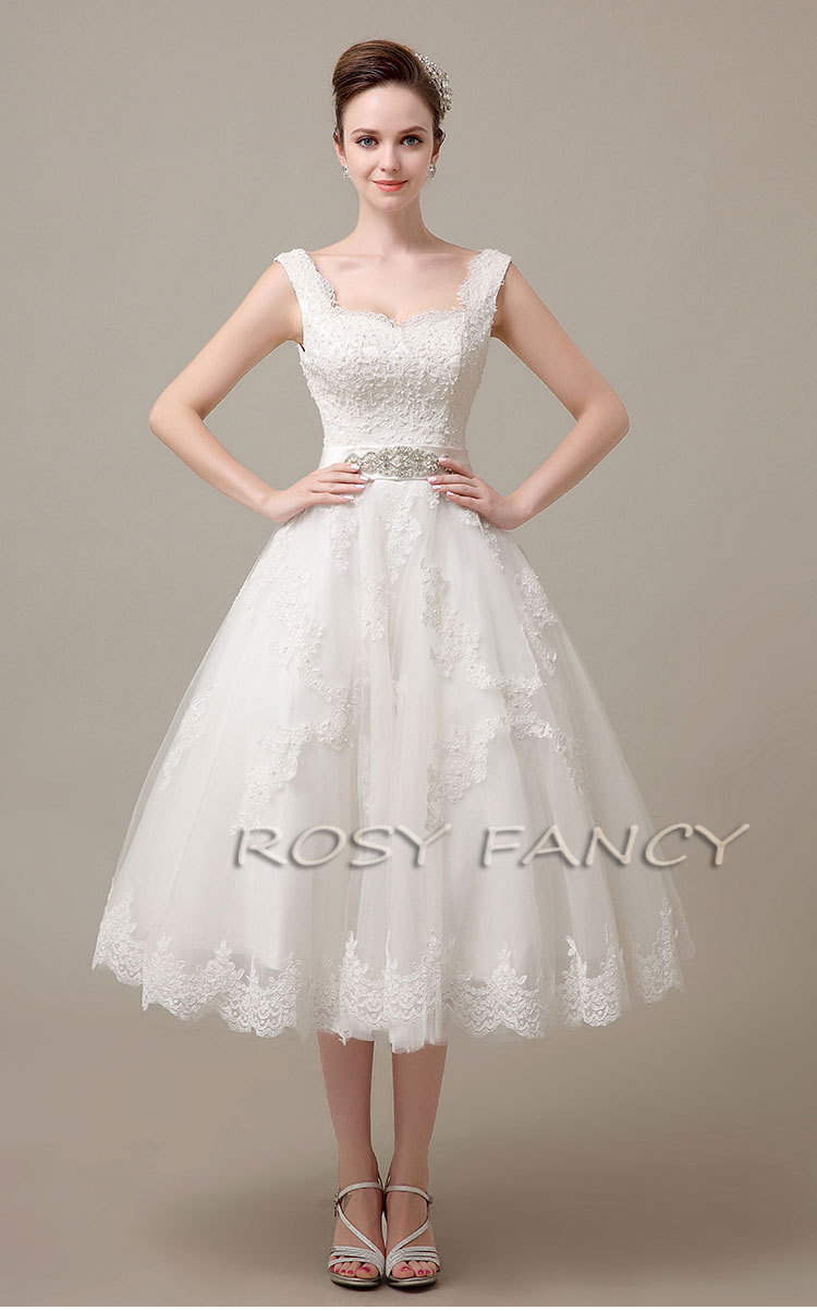 Off The Shoulder Lace Tea Length Wedding Dress Tea Length Lace Wedding