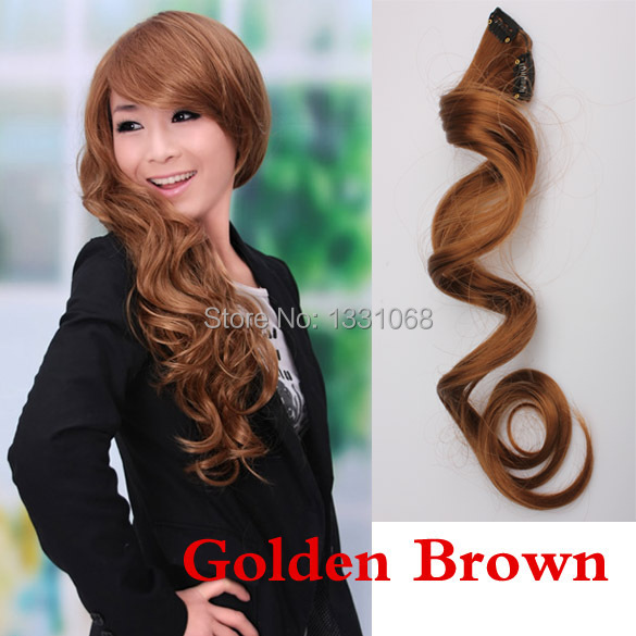 Гаджет  Sexy Stylish Lady Long Curl Clip-on Golden Brown Hair Extension J3G# None Волосы и аксессуары