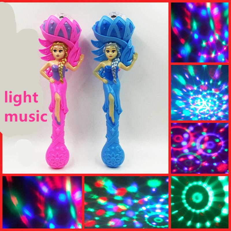 placer 2016 Novel luminous hot night market toys princess magic wand wand Light-Up Toys flash light projection girls Kids toys(China (Mainland))