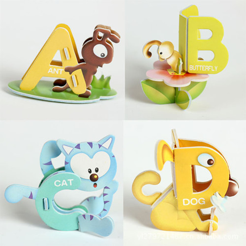 Cartoon 26 English Letters Card 3 D Paper Puzzle For Children Learning And Educational Toys For Kids(China (Mainland))