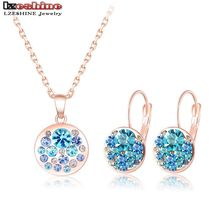 LZESHINE New Arrival Round Blue Crystal Set 18K Rose Gold Plated Pendants Necklaces /Earrings Stud 2pcs Jewelry Set/Arete ST0152(China (Mainland))