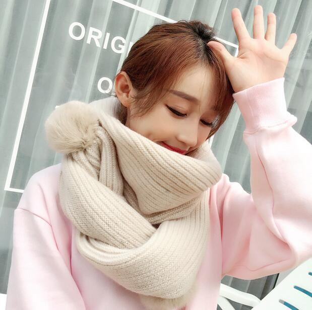 Winter wool knitted scarves scarlet rabbit fur ball thickening scarf collar women