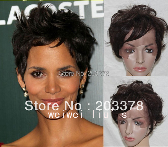New Hotsale Halle Berry New Hairstyle Lace front wig Dark Brown free shipping