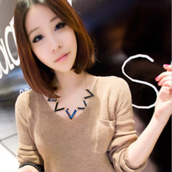 Vintage Collar Elegant European Fashion Waves Geometry Black Choker Necklace Chain Necklaces Statement Fine Jewelry For