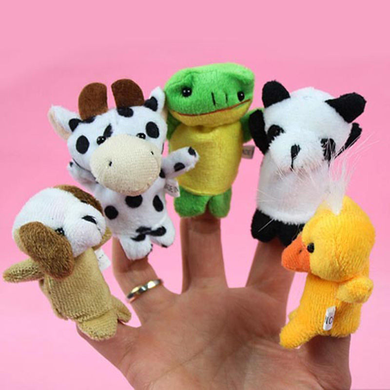 New Lovely 10 Pieces/Lot Cute Cartoon Animal Finger Puppet Plush Toys Child Baby Favor Dolls For Bedtime Stories FCI#(China (Mainland))