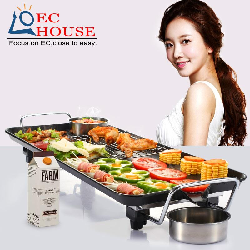 grill Korean household electric smokeless oven electrical iron barbecue meat pot FREE SHIPPING(China (Mainland))