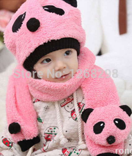 Hot Sale Lovely Animal Panda Baby Hats And Scarf 2pcs Kids Boy Girl Crochet Beanie Hats Winter Cap For Children To Keep Warm(China (Mainland))