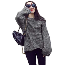 drop shipping New autumn&winter oversized sweater 2015 sweater female loose casual O-neck sweaters hedging jacket women pullover(China (Mainland))