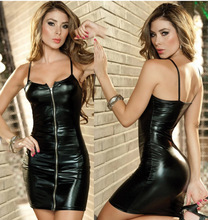 Buy Women skinny Dress Latex Leather Dress Sexy Party Mini Dress erotic Catsuit costume sexy lingerie sexy rubber tights
