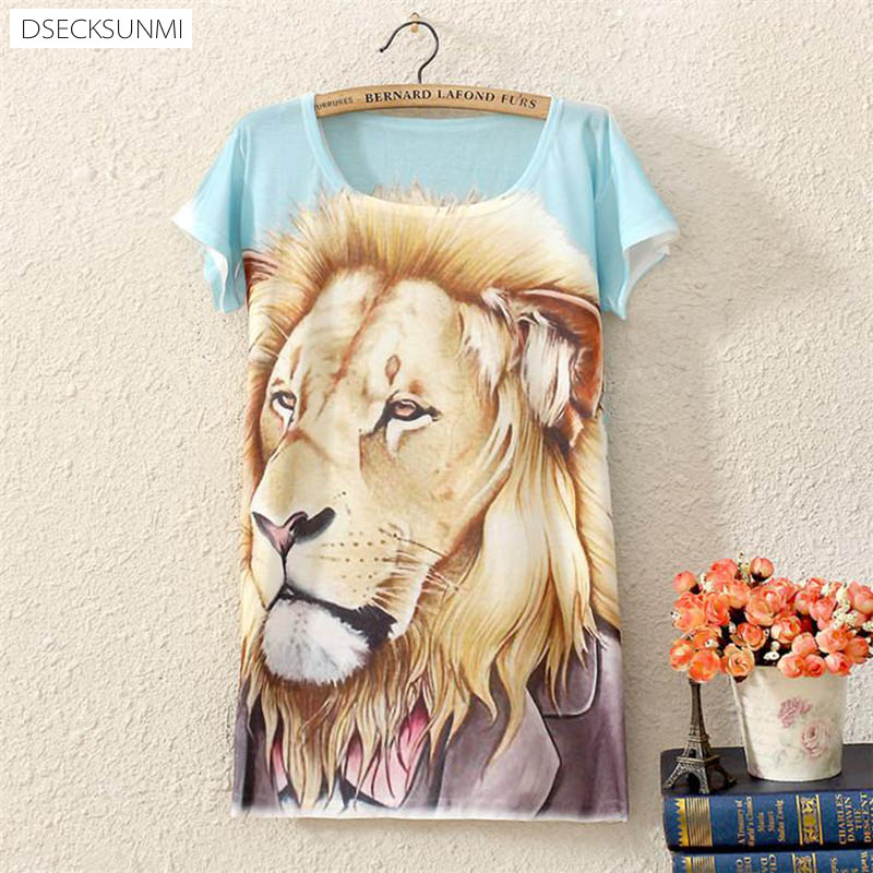 2016 Brand New Polyester T Shirt Women Short Sleeve t shirts o neck Causal loose lion