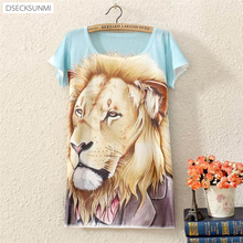 2016 Brand New Polyester T-Shirt Women Short Sleeve t-shirts o-neck Causal loose lion t shirt Summer tops for women