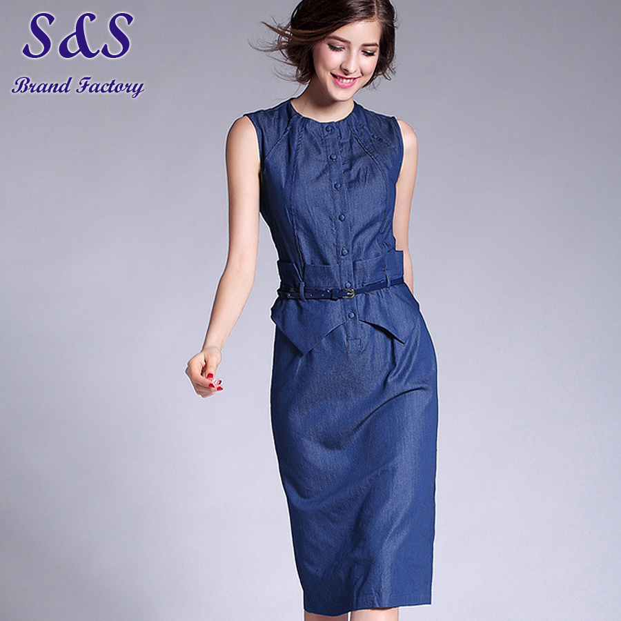Summer Woman Clothing Short Sleeve Dress Vestidos Elegant Office Wear Thin Denim Jeans Round Collar Dresses Plus Size M-XXL R34Îäåæäà è àêñåññóàðû<br><br>