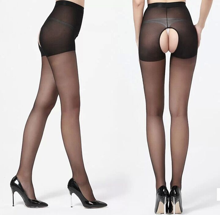 BEILEISI cheap black Sexy sheer Open crotch pantyhose Crotchless stockings sock hosiery tights for sex men women erotic lingerie(China (Mainland))