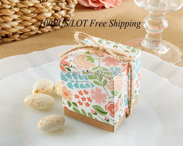 "100Pcs/Lot Hot Selling ""Vintage Floral"" Wedding Favor Box and wedding Bonbonniere For Birthday Party Candy box Kraft Paper box(China (Mainland))"