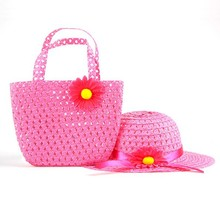 Summer Sun Hat Girls Kids Beach Hats Bags Flower Straw Hat Cap Tote Handbag Bag Suit(China (Mainland))