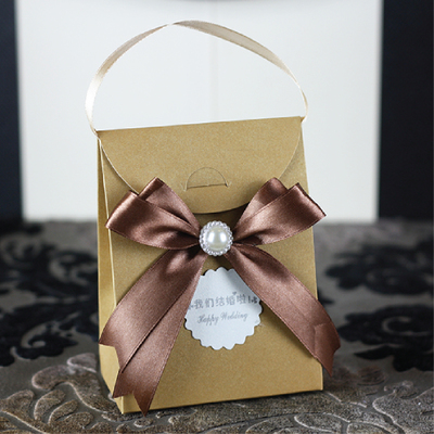 FREE SHIPPING 60pcs/lot personalized paper candy bag box with ribbon pearl for Wedding favor Party Anniversary gifts boxes(China (Mainland))