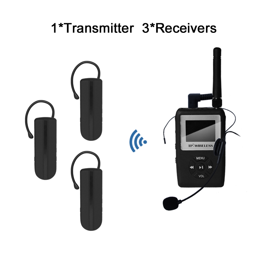 TP-WIRELESS UHF WTG12 Wireless Tour Guide System Black Earhook Receiver for Church,Translation,Meeting 1 Transmitter 3 receiver<br><br>Aliexpress