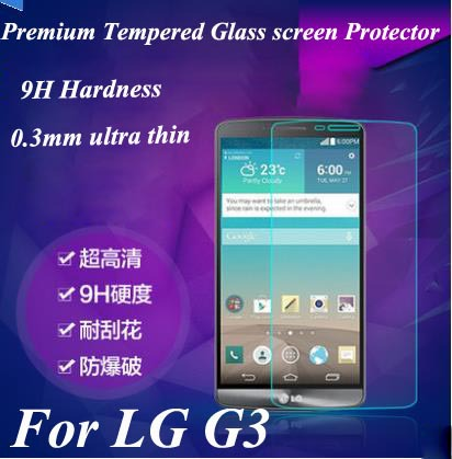 LG G3 0.26mm thin Premium Tempered Glass Screen Protector Film, 9H Hard ness,retail packing - RayCooN store