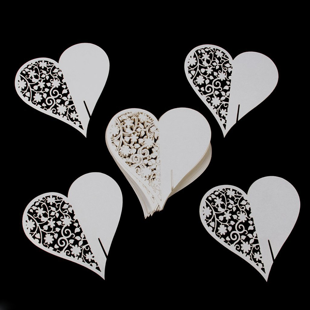 50PCS Hollow Love Heart Happy Gifts High Quality Wedding Decoration Wedding Table Paper Place Card Escort Name Card Wine Card(China (Mainland))