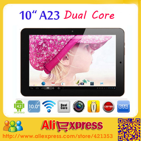 5pcs/lot DHL Free shipping 10 inch tablet pc Dual Core Allwinner A23 1GB ROM 8GB RAM 6000mAh Android 4.2 With Bluetooth(China (Mainland))