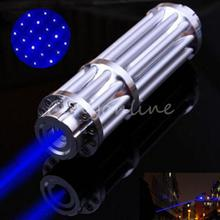 Best Promotion Powerful Blue Noble Laser Pointer light Pen 445nm Beam Match Cigarette Burning Star Cap 1000nw Adjustable(China (Mainland))