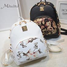3D printing floral PU leather rivet zipper backpack female 2016 trendy designer school bags teen girls travel mochilas women(China (Mainland))