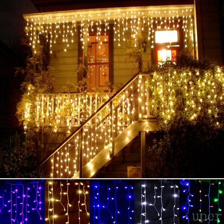 2015 outdoor decoration droop 3.5m 0.3-0.5m curtain icicle string led lights 220V New year Garden Wedding Party(China (Mainland))
