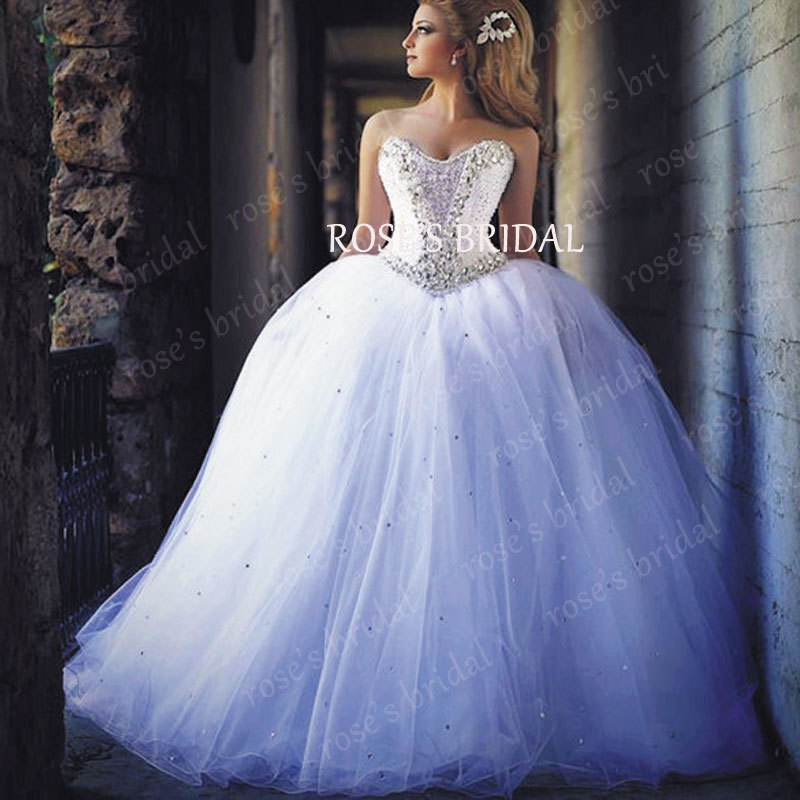 Princess Wedding Dresses With Sparkles Gorgeous Ball Gown Tulle Sparkly White