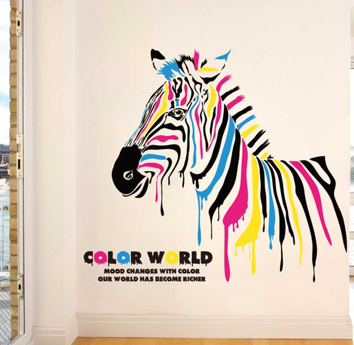 Color Zebra pattern Wall Stickers PVC waterproof Vinyl Wall Mural Decal Removable Animal Home bar Decor Art(China (Mainland))
