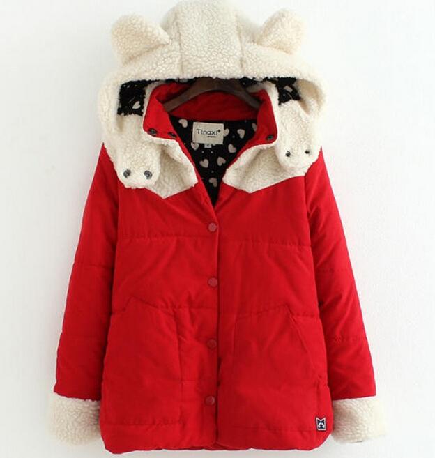 Thickening Winter Coat Women Winter Jacket Feminina Women's Clothing Ear Hats Design Thermal Wadded Jacket Cotton-padded(China (Mainland))