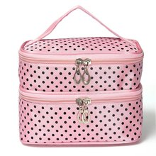5 X Womens Fashion Dot Pattern Double Layer Makeup Bag(Pink)