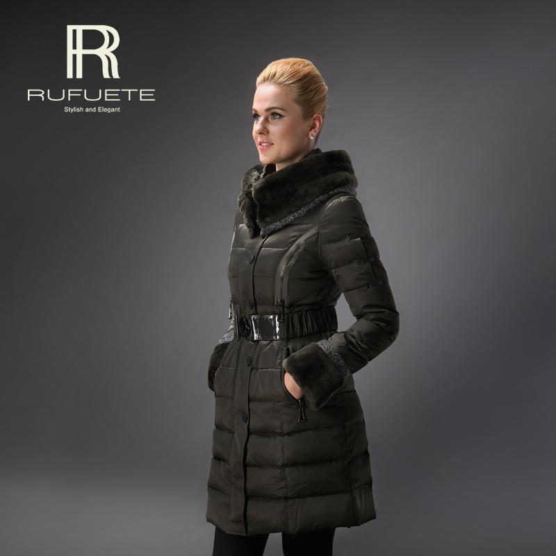 Brand RUFUETE Winter Duck Down Women Jacket Amy Green Decent Slim Lady Long Parka Designed Rabbit Fur Collar With Belt 1106(China (Mainland))