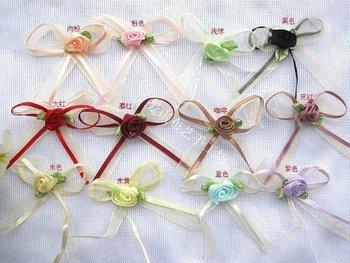 300pcs 6*4CM Mixed Colors Candy box Flowers, Satin Ribbon Flower appliques