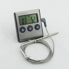 Venta al por mayor ( 24 unids/lote ) termómetro Digital horno sonda Food Kitchen Timer Cooking reloj envío gratis