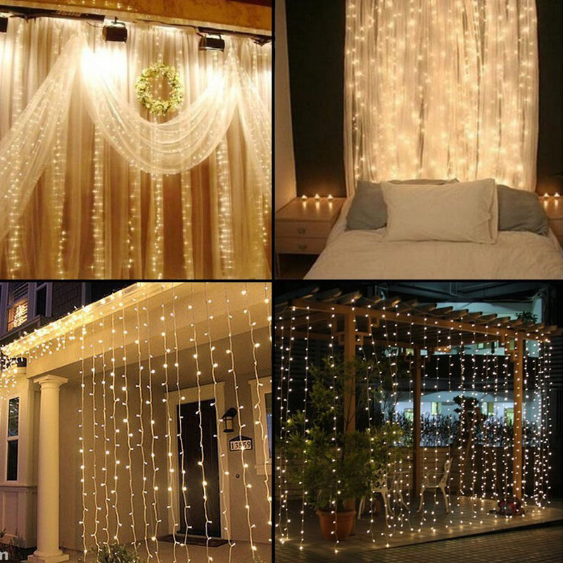 1Set & 3M x 3M LED Twinkle Lighting 300 LED xmas String Fairy Wedding Curtain background Outdoor Party Christmas Lights AC 220V(China (Mainland))