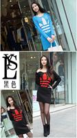 новые женщины desigual, зимнее платье вязаный свитер повседневные платья летучая мышь рукав резко потерять напечатаны одежда сумки бедра платье