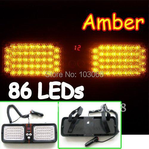 Super New Bright Car Truck Emergency 86 Led strobe light / Visor light / Visor Strobe light Amber Free Shipping