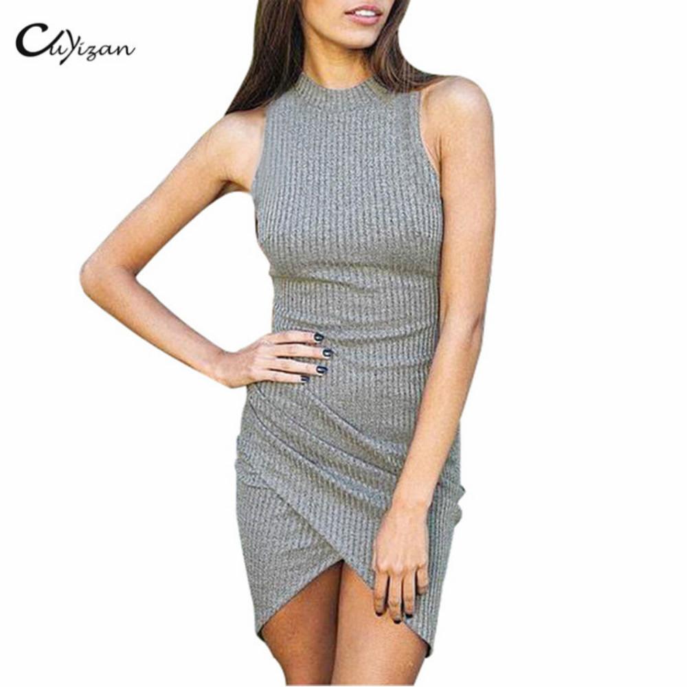 Cuyizan sexy women dress Elegant gray sleeveless office wear Women evening party bodycon dress Irregular short vestidos OL(China (Mainland))