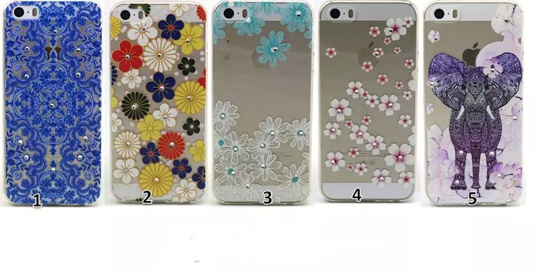 Elephant flowers Pattern Luxury Clear Diamond Bling case For apple iphone5 iPhone 5 TPU Soft back Cover(China (Mainland))