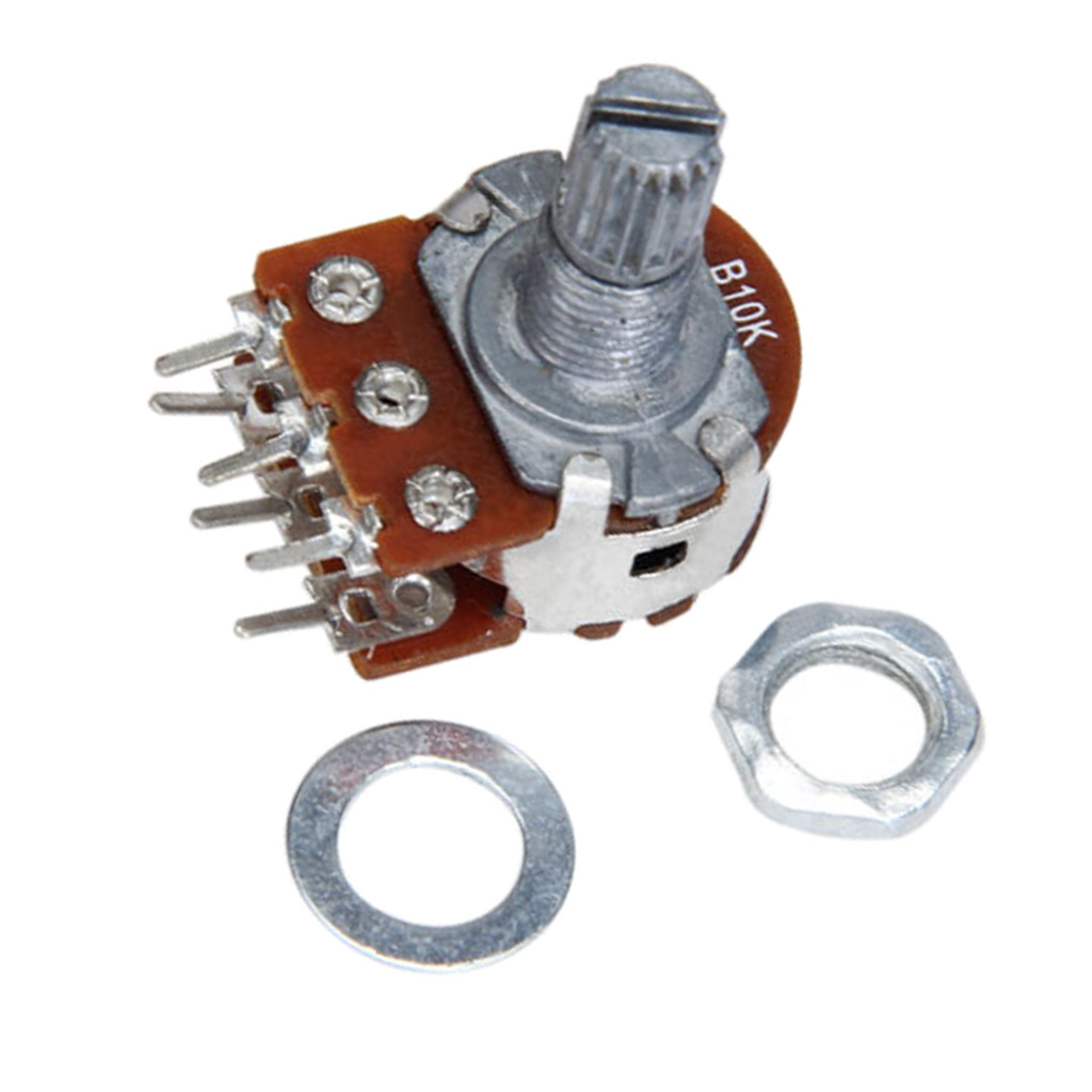 B10K Dual Stereo Potentiometer Pot 6 Pins Stringed Instruments for Stereo Amplifier
