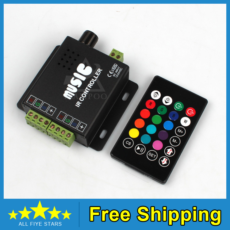 NEW design DC 12V 144W common anode IR two strip 24key RGB music controller rgb led remote - Shenzhen LSD Technology Go.,Ltd. store