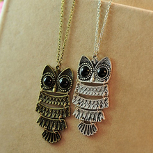 Vintage owl pendant necklace long sweater chain women jewelry wholesale
