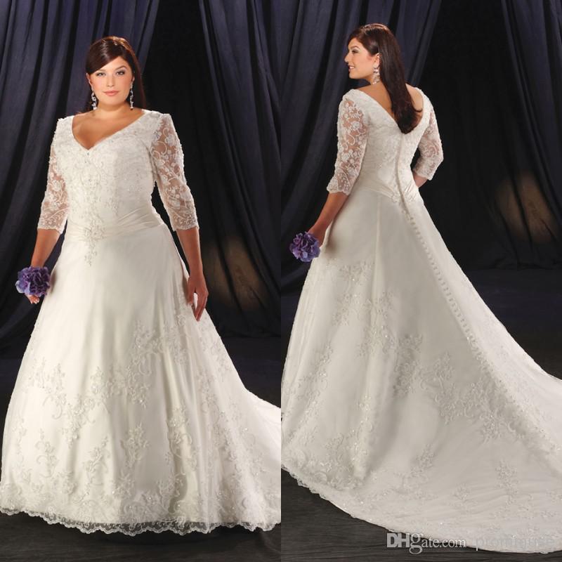 V Neck Wedding Dresses With Sleeves : Plus size wedding dresses a line v neck half long sheer sleeve