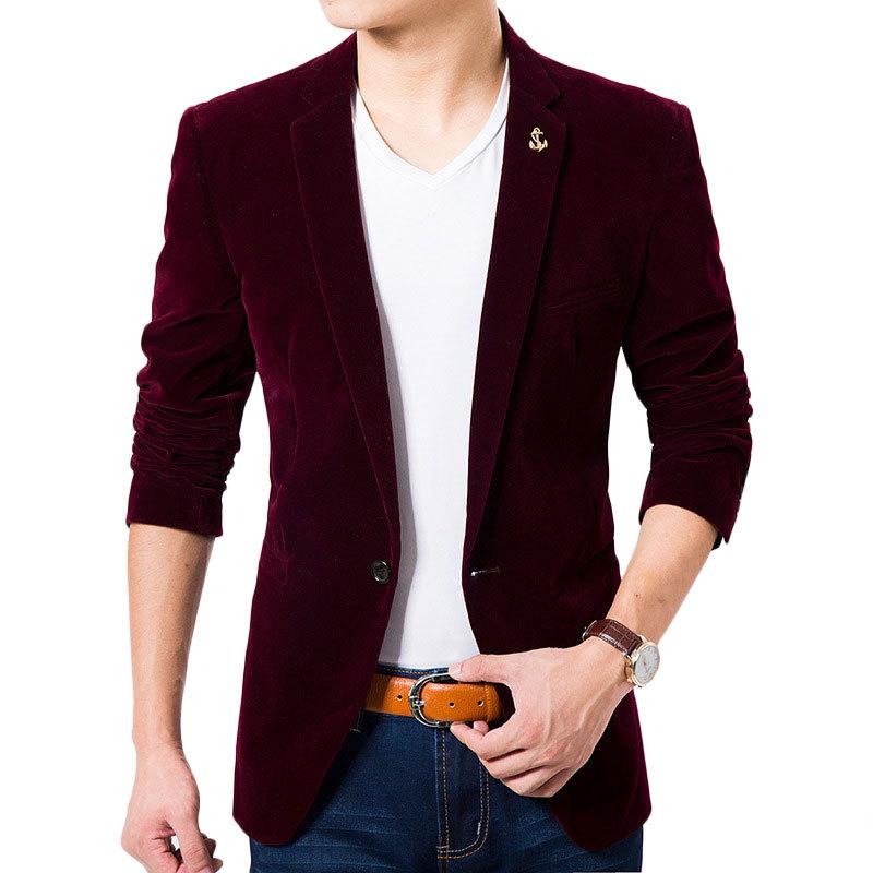 2016 New Arrival Velvet Blazers Men Luxury Business Casual Suit Jacket Men Blazers Formal ...