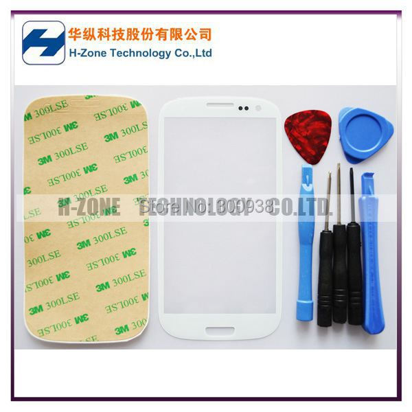 Airmail Free White Front Outer Lens Glass cover Replacement with Tools Adhesive Free touch Screen For Samsung Galaxy S3 i9300