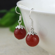 NEW Fashion Red blue green natural agate stone opal dangle & drop earrings Fine  jade Jewelry For women Vintage Silver plated(China (Mainland))